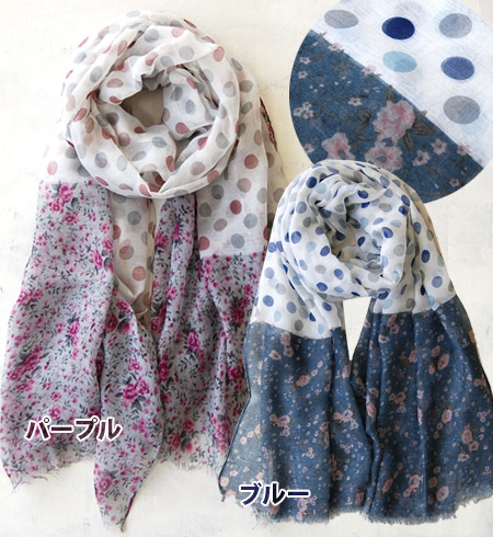 Flower print x unique light stall in polka dot combination can you show me all kinds of expressions by winding. In the UV and temperature measures. / accessories / flower pattern and polka dot pattern and light stall ◆ サイドフラワーフリンジドットレーヨン gauze scarf