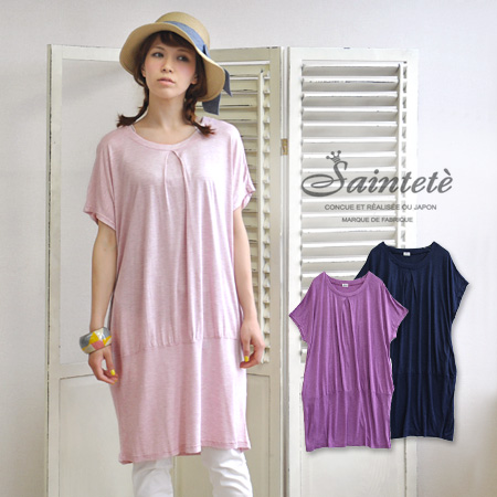 Good skin familiar high quality sparkling ring rayon material with a beautiful drape! With toggle hem and box pleated sukkiri worn short-sleeved dolmansleebwampi / plain /ASP001 ◆ Saintete ( Sun Tete ): Istanbul rayon tenjiku dormancocoonwan piece