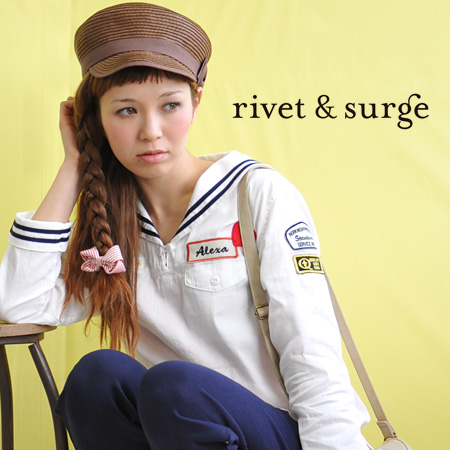 ♪ / long sleeves / Lady's ◆ rivet and surge (rivet and serge) cute middy and skirt-like Malin item ♪ which after all I want to wear this year the design which I sent a lot of heart and logo emblems with as having remade: Remake emblem sailor collar pullo