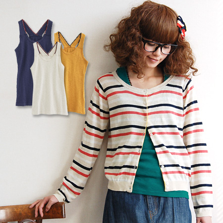 Color key ノースリーブカットソー decorate the shoulder strap knit sweater. Shine is a little unique in pop Y back casual ♪ inner tank / solid color / women's thick sense of security ◆ カラフルクロシェ crop Y バックタンク top