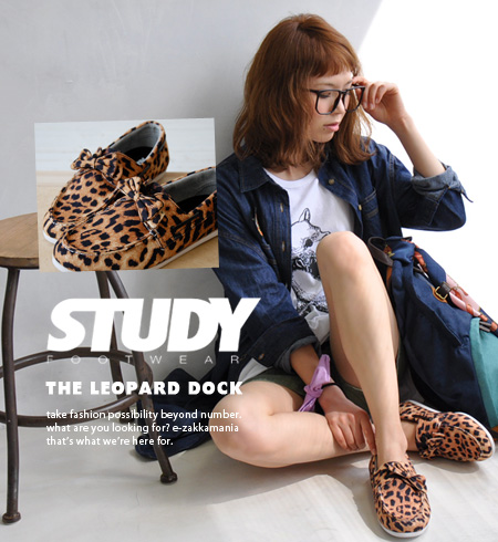 A Leopard pattern deck shoes to detachable Ribbon ON ♪ low-cut design by Manish CUTE / sneaker / women's / animal patterns ◆ STUDY ( study ): LEOPARD DOCK BOW