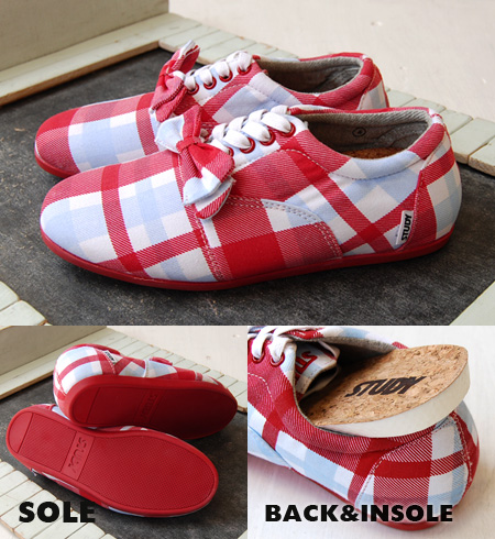 Plus ribbon based on simple, light Oxford sneaker girly red check pattern locate sneaker / / shoes / pattern /SS1218 ◆ STUDY ( study ): PARAID DROP BOW
