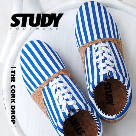 The Oxford sneakers of the stripe pattern X cork material. Low-frequency cut sneakers Lady's opera pump shoes ぺたんこ flat ◆ STUDY (study) THE CORK DROP of the simple, light silhouette