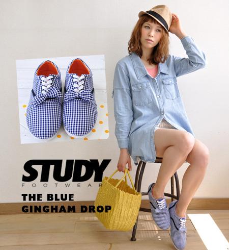 Gingham check pattern Womens shoe flat pettanko plus ribbons, etc. based on simple, light Oxford sneaker pettanko lace-up • STUDY (study): BLUE GINGHAM DROP BOW