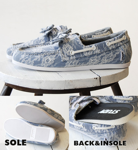 Ribon removable deck shoes covered in the overall race, ON ♪ chides low-cut design • / sneaker / women's / lace and flower lace /SS1240 ◆ STUDY (study): DENIM / FLOWER DOCK