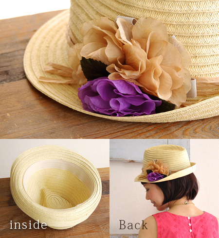 It is niceness even in the form that ON ♪ was stable with an artificial flower to the paper hat of a standard middle I type luxuriously and the light season when I put it on, and the paper material of the feeling is hot! It is ◎ / straw hat style /HAT ◆