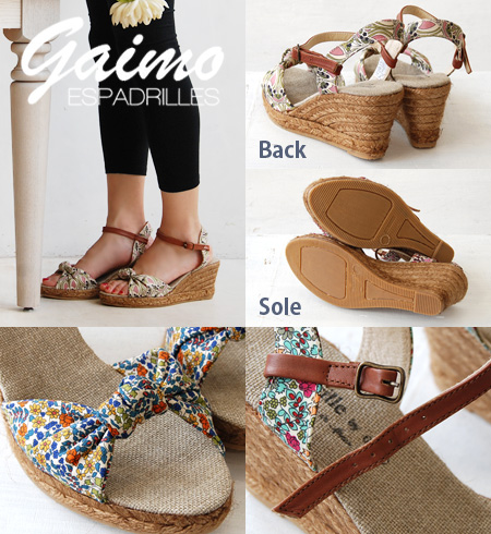 Upper with floral designs by the genuine liberty's. Ankle strap with ◎ storm with 7 cm platform ◆ Espadrille by GAIMO ( エスパドリーユバイガイモ ) :NURIA-L リバティーフラワーリボンエスパドリーユ sandals