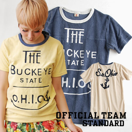 """Sisters brand """"OfficialTeam"""" of NEEDLE WORK SOON! Casual logo Tee of the toweling which is worn even if parent and child are matching. Vintage-like Ikari print is stylish! / short sleeves cut-and-sew ◆ Official Team (official team): S.O.Ohio pi"""