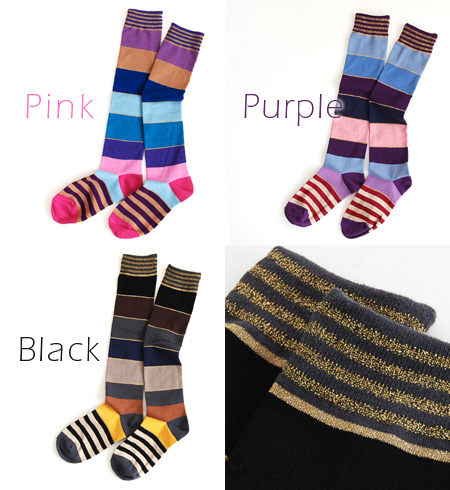 Colorful's colorful designed with various pitch buzzing socks! well pumps or sandals to match toe tight dress pattern from ◎ / foot wear and long socks ◆ ラメラインマルチボーダーハイ socks