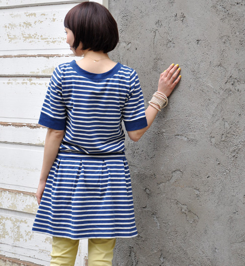 1 West switch designs this year seems to be the border pattern short sleeve ブラウジングワン piece. A marine rope tied points / sewn / cotton 100% / spring dress ◆ Zootie ( ズーティー ): フレンチボーダーバスクドローストリングワン piece