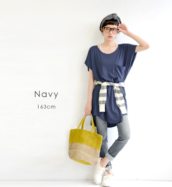 ◆ design Plus big pocket tunic in big breast pocket ♪ Lady's tops short sleeves dress Ron T maternity dress maternity wear maternity maternity relaxed wide sloppy monochrome spring in the spring and summer