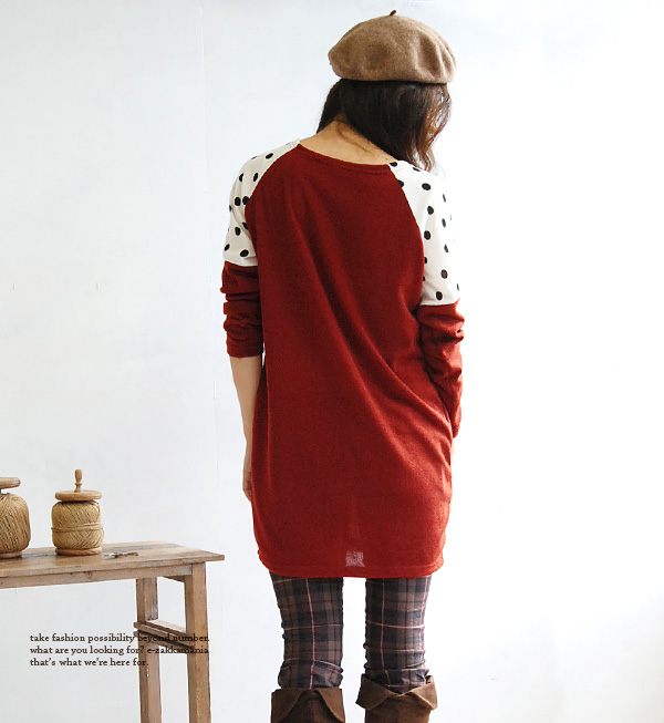 The long tunic of the simple silhouette. Waterdrop pattern dot pattern mini-length short length shoulder adult fashion tunic dress ◆ zootie (zoo tea): Polka dot shoulder knit so dress