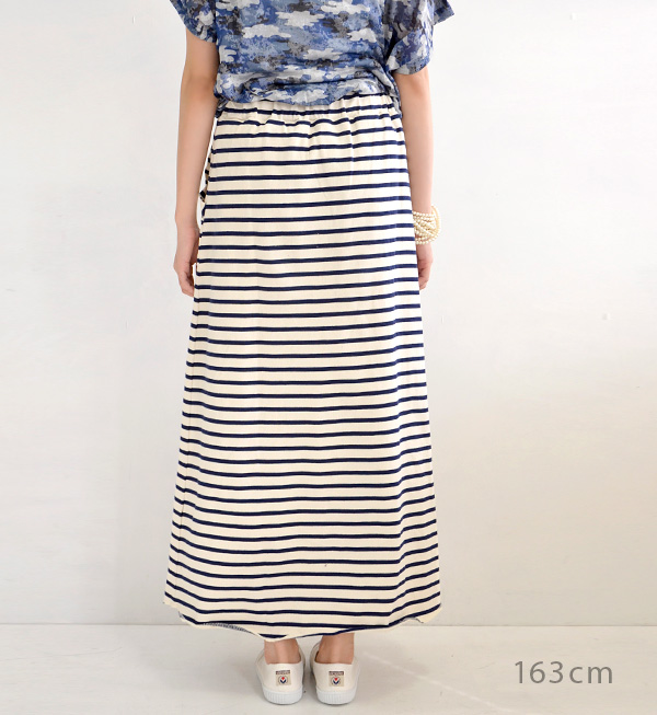 Maxi-length skirt can also wear stylish pattern ナチュカジボーダー. Crammed with detail becomes ロックステッチ and accented with long skirt ◆ Zootie ( ズーティー ): フレンチボーダーバスクマキシ skirt