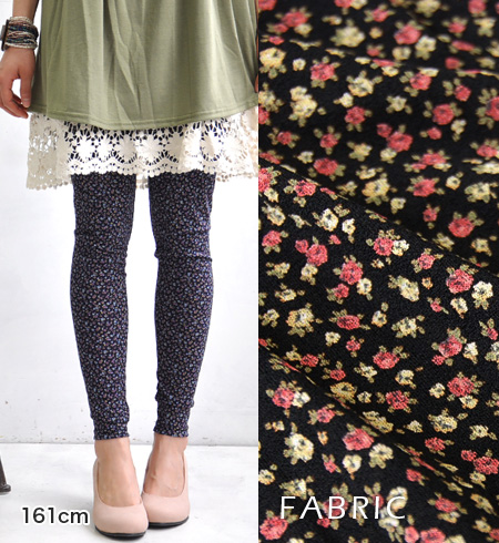 Gary フラワーレギンス lined and flower print. In the spring and summer in hot pantyhose sense, perfect for thin, the salary and it comfortable in the season ◎ / rose / rose / stockings / 10: Length spats / full-length / socks ◆ プチローズレギンス