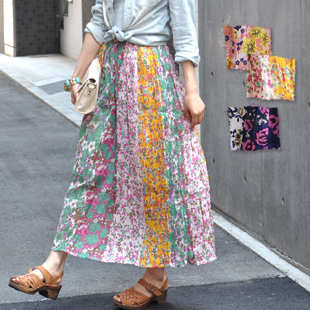 The colorful long skirt which patchwork totally made floral design fabric.  The comfort is very ...
