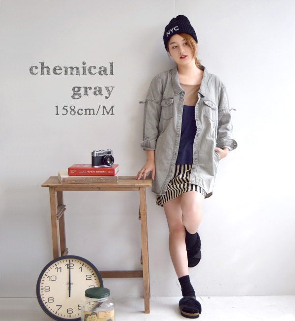 Denim jacket M/L/LL long length G Jean long shirt long cardigan over size Lady's maternity dress denim shirt ◆ zootie (zoo tea) in the fall and winter: Abie deep neck light denim shirt tunic