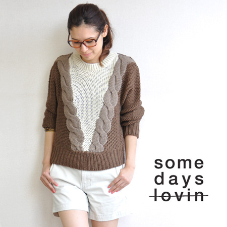 Scheme design of thick yarn loosely woven wool mixed knit sweater. Secret / import / women's / sleeved knit purl your expressive ◆ Freedom deep jumper SOMEDAYS LOVIN ( サムデイズラビン )