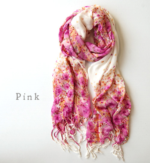 Floral intensity vibrantly light stall ◎ shows us every facial expression by winding thin scarf. In the UV and temperature measures: ◆ グラデーションパネルフラワーフリンジ stall