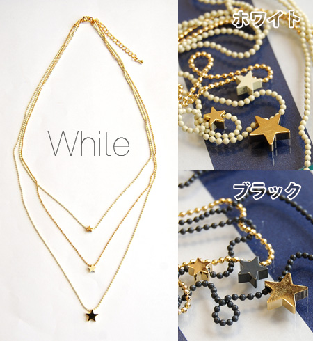 Triple a delicate ball chain with a small star motif necklace. Color scheme using the length, size, and different chain & Japanese accessories! / two-tone / combicolors ◆ Zootie ( SETI ): by colorstarmochieftriplechainnecklace