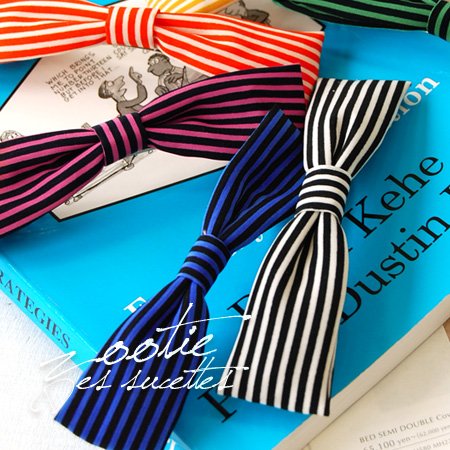Thin and delicate, but in vivid color burst eye catching border pattern Ribbon hair accessories! Head range is, of course, such as bags, clothes and shoes everywhere and enjoys arranging ♪ / hairpin / Barrette ◆ Zootie ( ズーティー ): スレンダーストライプ Ribbon Barret