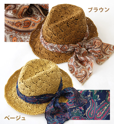 Caps & hats ethnic scarves fluttering fluttering in the wind this PTI price! Excellent breathable in soft paper material loosely woven handmade HAT and straw hat style / ladies ◆ Hat paisleyribon scarf