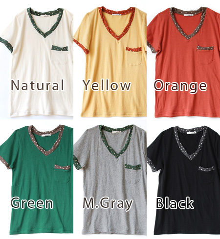 Polka dot color scheme with neckline & switched chest pocket mouth & sleeves mouth soft gauze cotton women's Tee. The material softly along the body to the sizing you can afford ◎ / sewn s/s ◆ twist dot trim T shirt