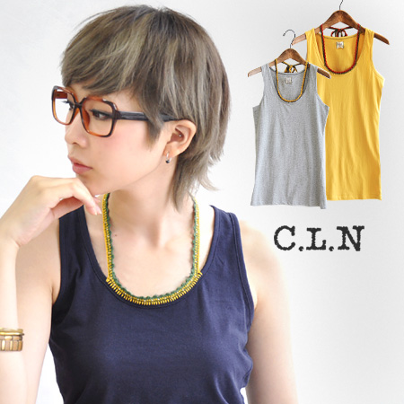 In the comfort plus peace of mind. A wide range of ethnic from natural ノースリーブカットソー/women's STYLE can be used ◆ C.L.N( シーエルエヌ ): ビーズミサンガホルターネック tank top [plain]