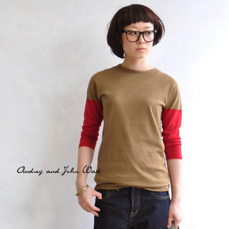 Unique and special sense of seven minutes became a trend Combi color switching in short sleeves at sleeve knitwear; Clean tight because a silhouette / women's / 89778 ◆ Audrey and John Wad ( オードリーアンドジョンワッド ): バイカラーホールガーメントコットン knit sweater