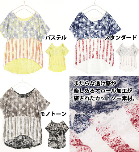National flag pattern Tee which was drawn by opal processing to be able to enjoy translucency. ♪ / see-through / short sleeves /U.S.A/ U.S.A. / Star-Spangled Banner ◆ rivet and surge (rivet and serge) which I go to short length of the up in front, and wi