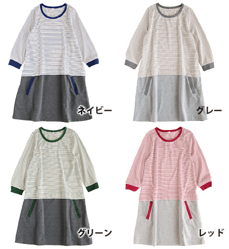 The reshuffling dress that coordinates are completed with one piece! It is dress ◆ piping border cut-and-sew X light sweat shirt skirt docking dress in the knee-length tunic dress ♪ /7 share sleeve / three-quarter sleeves / Lady's / summer which put the