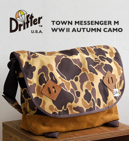 The macroscale which even A3 is delivered to! Man and woman combined use flap shoulder bag / unisex / camouflage handle of /Town Messenger Medium ◆ Drifter (drifter) of the autumn camouflage pattern that diagonal credit is possible: WW2 AUTUMN CAMO nylon