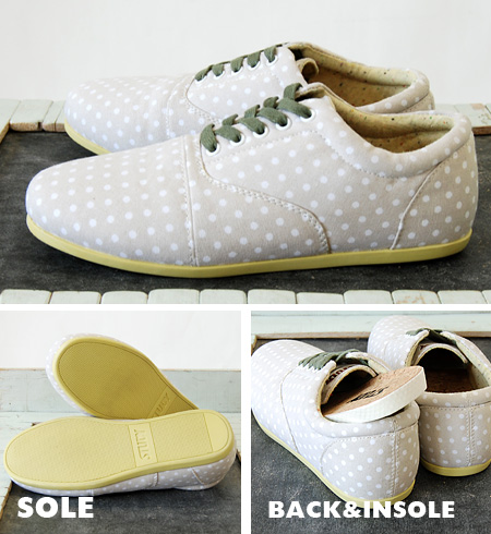 Dare the dimmed x stylish non-sharp gray color scheme border pattern オックスフォードスニーカー / locate sneaker / / shoes / women's / shoes / polka dot pattern /FW1207 ◆ STUDY ( study ) THE DOT DROP CREAM