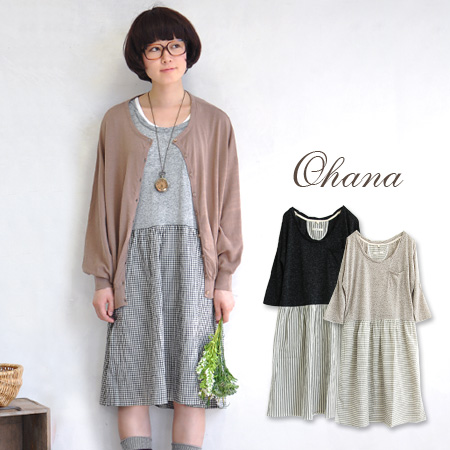 Exquisite combination of Ron Tee and gingham check pattern & border print skirt dress! natural girly atmosphere rich / MIDI / spring dress ◆ ohana ( Ohana ): Special! Mokumoku linen mixed ドルマンドッキングワン piece.