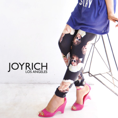 """Funky angels who wore sunglasses! The whole pattern spats using the textile """"cool chapel"""" like Joey Rich! It is length /JOY-F1265PT ◆ JOY RICH (Joey Rich) Cool Chapel Legging for cut-and-sew cloth leggings /10 which is usable in all seasons for"""