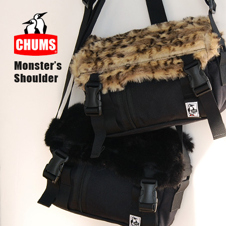 The pochette that black and the soft and fluffy fake fur of the レオパード pattern became the flap in the fall and winter. As ♪ subbag is light, and to go out to with one this a ◎ / man and woman combined use / unisex / bag /CH60-0646 ◆ CHUMS (Kiamusze) monst