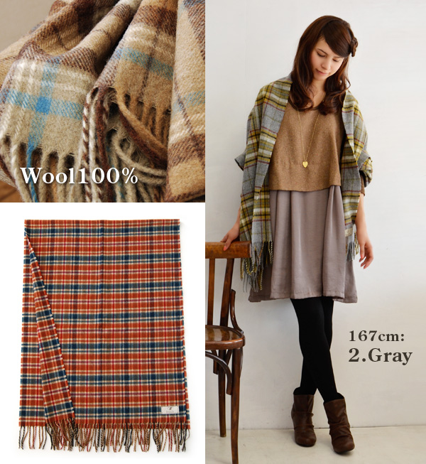 A checked pattern stall to enjoy with cloth for 100% of good-quality wool. Large size scarf Lady's rolled drapery scarf shawl tartan check thick ◆ Bronte at home (Bronte at home) tartan check stall attracting you with the color of adult