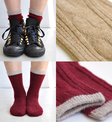 Softly raised feeling がほっこり warm Angola blend shortstop length socks. The crew sock ♪ / crew length / footware / Lady's / woman socks ◆ by color Angola cable knit shortstop socks that the cable knitting design that is casual in a popular combination colo