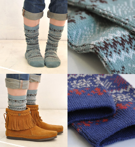 Folklore-style design and colorful socks. 3 Color yarn in knitted Jacquard in the expressive design code plus a casual accent ◎ / footwear / women's / ladies ' socks ◆ フォークロアスノーハイ socks