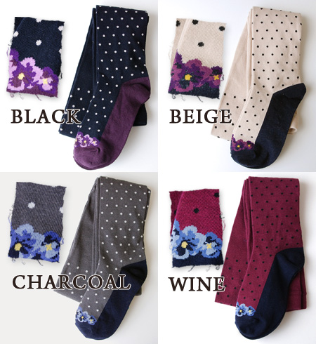 Even if seem to wear flower pumps, and take it off ♪, is pretty; deceive; picture dot pattern tights! Stylish ◆ trompe l'oeil flower pumps dot tights which have a cute legware footware socks socks waterdrop pattern Lady's