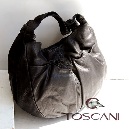 Using the finest leather wash coated balloon bags. Good body familiar round form over the shoulder gusset bag / import /MADE IN ITALY made in Italy leather / real laser / 4048 TC ◆ TOSCANI ( Toscani ): カーフレザーラウンドトート bags