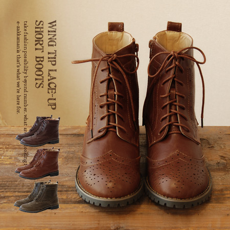 A glowing wing chip design an authentic British & Trad Tricker's wind country boots. Code feet heavy, balanced the ♪ / faux leather / combination skin / ハイカットシューズ / ladies / women's shoes / spring boots ◆ ウイングチップレースアップ short boots