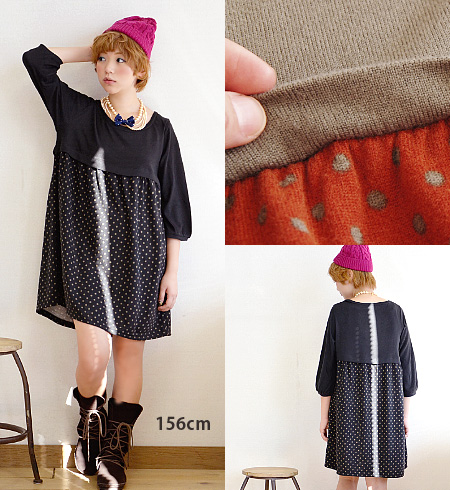 Under the chest switched to a dot pattern, soft ニットソー long-length tunic. Skirt switching position of leg length effect & refreshing dressed ◎ seven minutes sleeves / 7-sleeves and polka dot pattern and sewn / ライトニット ◆ ドットハイ West switching ニットソーワン pie