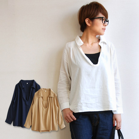 "Natural cotton material brushed feeling is Kime atmosphere only ♪ neckline with button ""wedged"" skippershatstunic / women's / / blank / white shirt ◆ frannelcottentwilhenryneckskipper shirt"