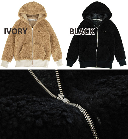 BOA HOODY where a full-scale bulky boa is cute. The logo embroidery of the chest is point ♪ compact design / outer / haori / hooded blouson / short coat / フーディー / Lady's /04-12aw-06/fs3gm ◆ irony (irony) boa zip up parka worn clearly