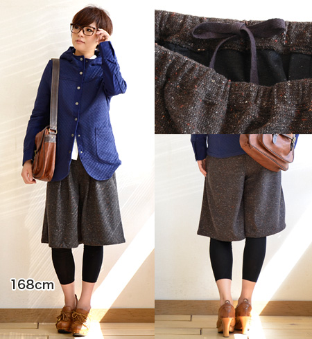 Looks like Tweed stylish Jersey material! Would want it even as a room so comfortable, odd-length baggy pants / women's / solid / ガウチョパンツ / shorts ◆ カラフルネップフェイクツイードイージー culotte panties