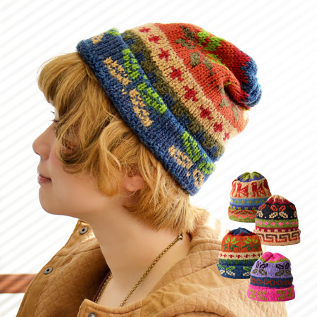 Comfort ◎ / warm accessory / protection against the cold /IWP-073 ◆ TITICACA (チチカカ) with comfortable & sense of stability elastic with the sweet knitting knit that knit hat ♪ is soft in reply of a colorful, lively ethnic pattern: Colorful Peruvian kn
