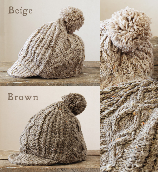 With plenty of natural feeling, loosely woven from yarns with a mixed sense of newsboy style cap! Wool blend knit, flanged Bonbon knit hat became a accent rope stripe / Pom-Pom and brim with ◆ brocchialannitwork Cap