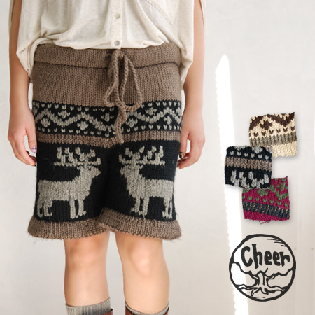 The short length knit underwear which knit a pretty reindeer out of a bit big woolen yarn roughly. Is a waist string to 深 めの rise to give a stomach, buttocks of completely; size adjustment / half underwear / snow handle of / Nordic events handle of ◆ che