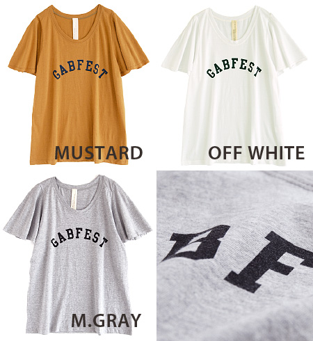 Short Sleeve Tee with cute, sleeves and fluttering in the wind. Clearly complied with cut Terron and falling silhouette, in the chest plus casual in simple English-language logo! / / 5 sleeves and 5 minutes sleeves ◆ Zootie ( ズーティー ) :GABFEST ロゴプリントフレアスリ