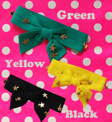 Putting on and taking off simple with elasticized good wide rubber! Pop bracelet / bangle / accessories ◆ Zootie (zoo tea) where stars shining shiningly swing: Goldstar ribbon rubber bracelet